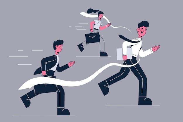 Competição empresarial e ilustração de liderança