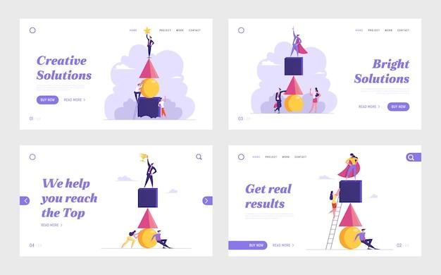 Competição empresarial, trabalho em equipe, conjunto de páginas de destino do site de desafio