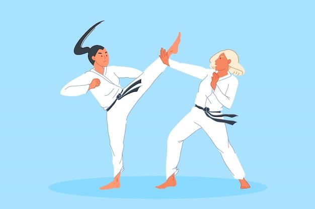 Competição esportiva, combate, treinamento de atletas, conceito de artes marciais