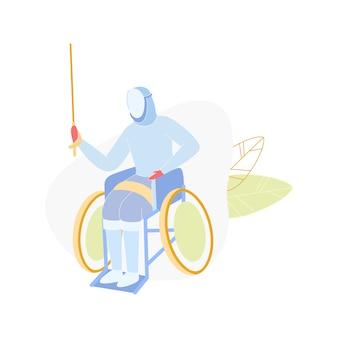 Competição paraolímpica, desativar esgrima em cadeira de rodas