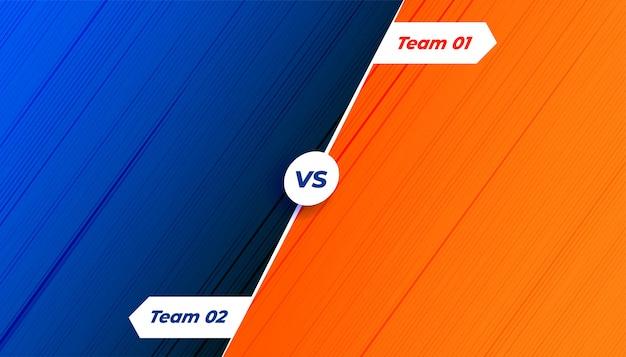Competição versus fundo em tons de laranja e azul