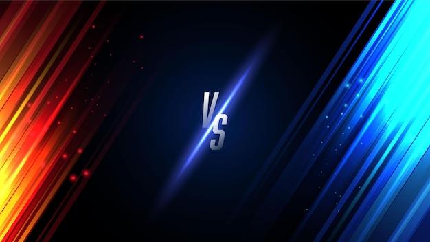 Competição versus vs fundo em luzes vermelhas e azuis