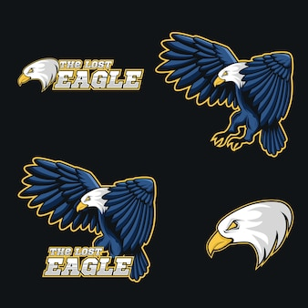 Completa marca logotipo de mascote de ilustração de vetor de águia azul