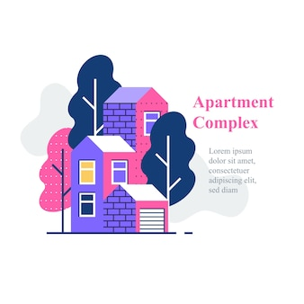 Complexo de apartamentos, bairro residencial, construção e desenvolvimento de casas, ícone, ilustração plana