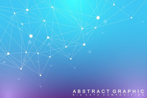 Complexo de big data. comunicação gráfica abstrata. cenário de perspectiva de profundidade. matriz mínima com linhas e pontos compostos. visualização de dados digitais. ilustração big data.