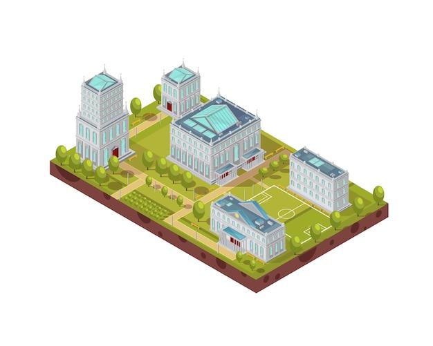 Complexo de edifícios da universidade com campo de futebol, árvores verdes, bancos e passarelas isométrica ilustração vetorial de layout