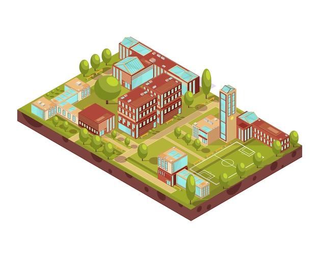 Complexo de layout isométrica de edifícios universitários modernos com passarelas de árvores de campo de futebol verde e ilustração vetorial de bancos