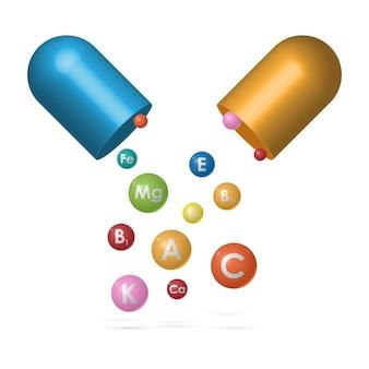 Complexo de vitaminas da cápsula do comprimido, vitaminas essenciais e complexo de minerais, medicina e saúde