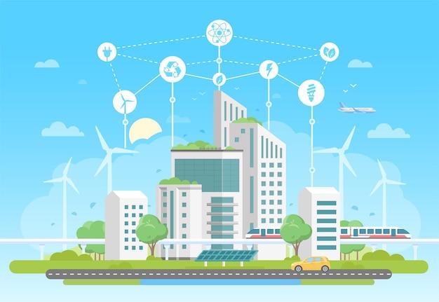 Complexo habitacional ecológico - ilustração em vetor estilo design plano moderno sobre fundo azul com um conjunto de ícones. uma paisagem urbana com arranha-céus, painéis solares, trem. reciclagem, conceito de economia de energia