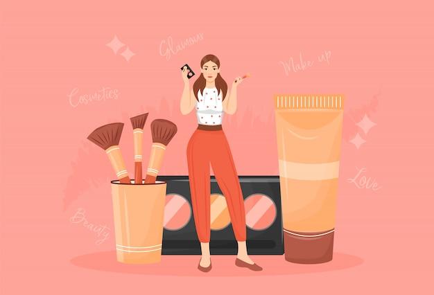 Compõem a ilustração do conceito de artista. mulher com paleta da sombra e pincéis de personagem de desenho animado para web design. tutorial de maquiagem, produtos cosméticos armazenar idéia criativa