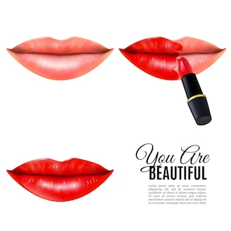 Compõem o cartaz realista de lábios de beleza