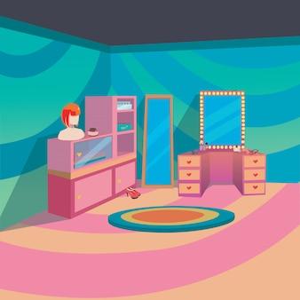 Compõem o quarto interior em casa com estilo de fundo dos desenhos animados