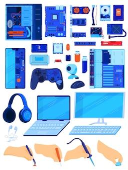 Componentes de computador, conjunto de ilustração vetorial de hardware de banco de dados, peça de pc eletrônico plana de desenho animado