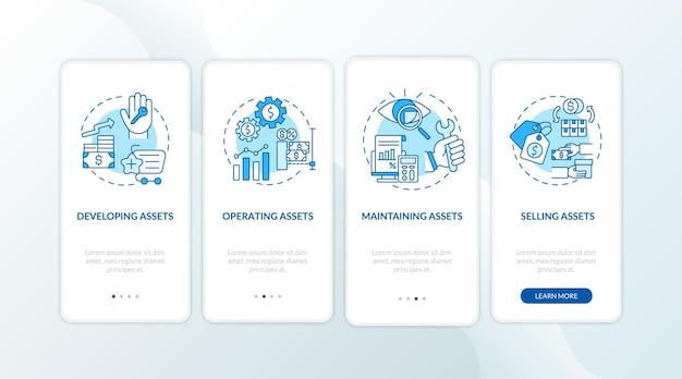 Componentes de controle de ativos que integram a tela da página do aplicativo móvel com conceitos