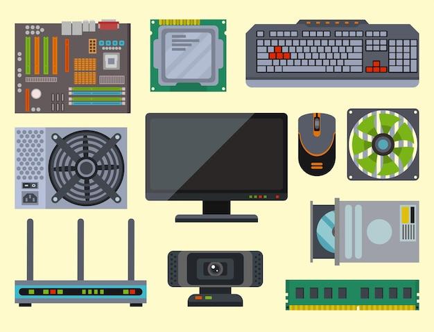 Componentes de rede de peças de computador, acessórios, vários dispositivos eletrônicos