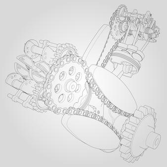 Componentes do motor desmontados. ilustração vetorial de linhas.