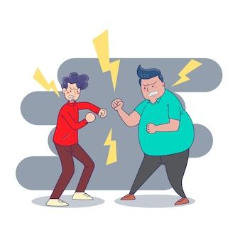 Comportamento agressivo e violento e conflito ou rivalidade.