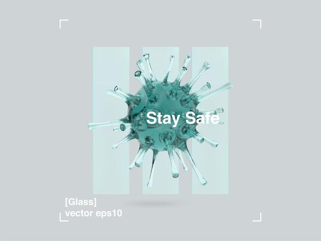 Composição 3d de painéis de vidro e vírus de vidro em um estilo de design moderno. faixa de pandemia permanente em segurança covid-19.