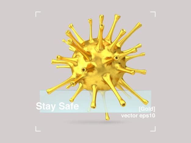 Composição 3d do vírus de vidro e ouro em um estilo de design moderno. faixa de pandemia permanente em segurança covid-19.