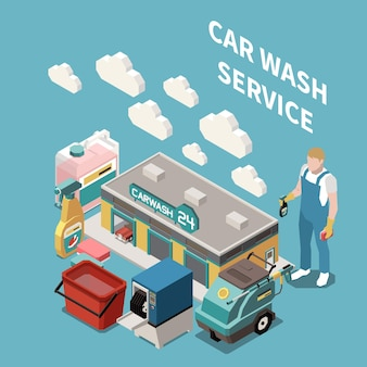 Composição 3d isométrica com balde de detergente de equipamento de bulding de funcionário de serviço de lavagem de carro