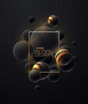 Composição abstrata com aglomerado de bolhas pretas e douradas