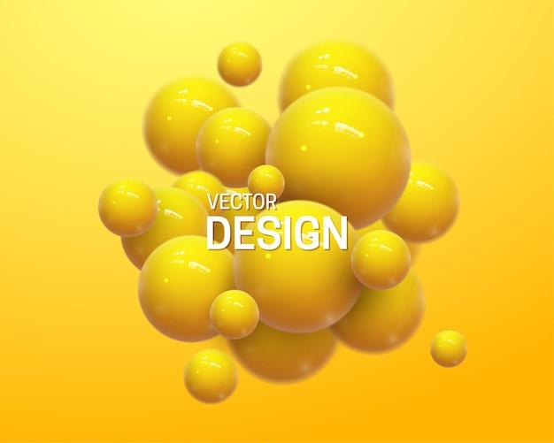 Composição abstrata com aglomerado de esferas amarelas 3d