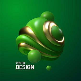 Composição abstrata com bolhas 3d brilhantes verdes e douradas
