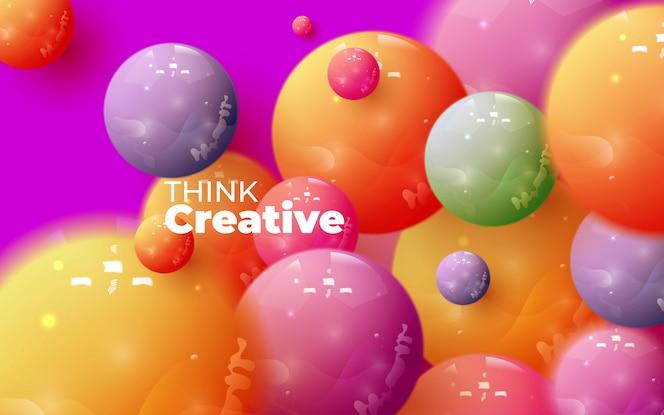 Composição abstrata com cluster de esferas 3d. bolhas brilhantes coloridas. ilustração em vetor realista de bolas. banner na moda ou design de cartaz. fundo futurista