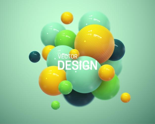 Composição abstrata com cluster de esferas 3d Vetor Premium