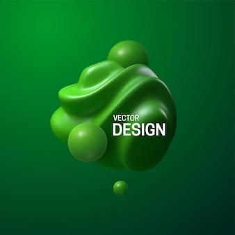 Composição abstrata com formas verdes esféricas 3d Vetor Premium