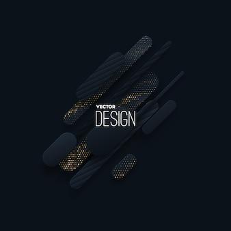 Composição abstrata de formas de papel preto com brilhos dourados