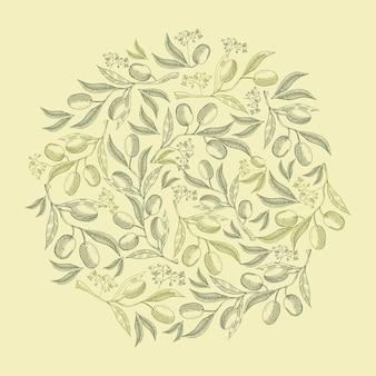 Composição abstrata natural vintage verde redondo