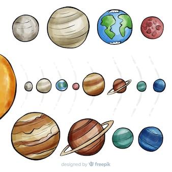 Composição adorável do sistema solar em aquarela