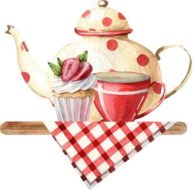 Composição aquarela com bule, xícara, bolo e flores na toalha de mesa quadriculada. decoração aconchegante da cozinha. ilustração de pintados à mão. café da manhã inglês, estilo vintage