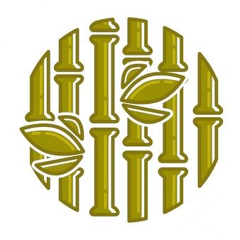 Composição arredondada da folha de palmeira tropical de bambu