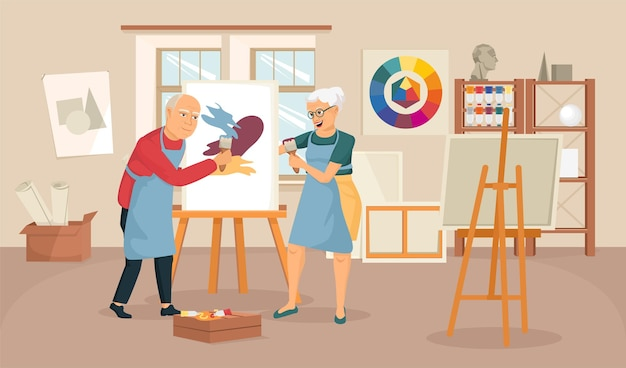 Composição artística de idosos com cenário interno de estúdio de pintura com cavalete de desenho