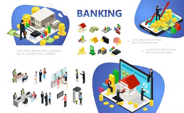 Composição bancária isométrica com elementos financeiros e objetos, clientes de pagamentos on-line, clientes e funcionários do banco
