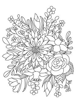 Composição botânica da página do livro para colorir de plantas do campo