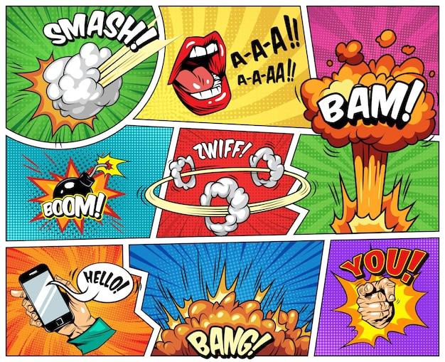 Composição brilhante em quadrinhos com raios de meio-tom explosivos