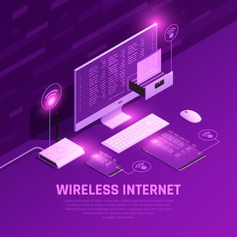 Composição brilhante isométrica de internet sem fio com pc roteador e dispositivos móveis em roxo
