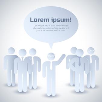Composição cinza de trabalho em equipe com grupo de pessoas ouvindo a opinião de seu líder