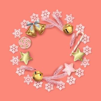 Composição circular de decorações de natal