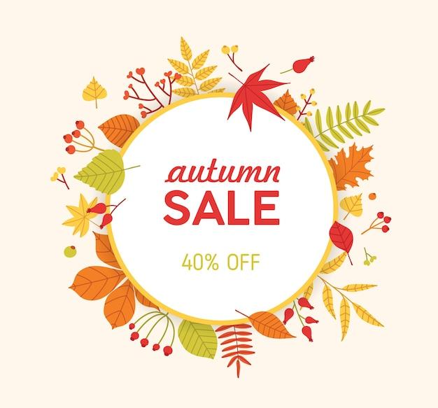 Composição circular de outono, moldura ou grinalda feita de folhas de árvores caídas e grãos