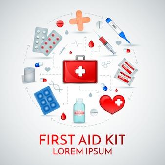 Composição circular realista de kit de primeiros socorros de suprimentos para tratamento médico de emergência com comprimidos de bandagem anti-séptica