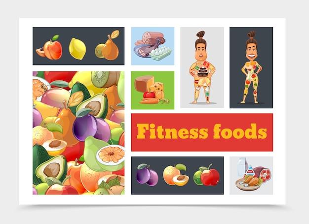 Composição colorida da dieta dos desenhos animados com frutas e ilustração de mulheres gordas e atléticas