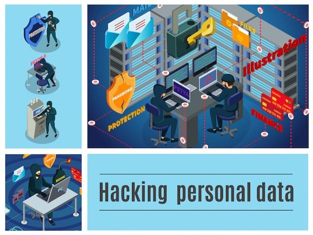 Composição colorida de atividade hacker isométrica com servidores de computador correio datacenter atm hackers crimes cibernéticos financeiros
