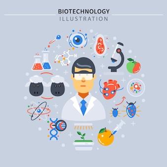 Composição colorida de biotecnologia