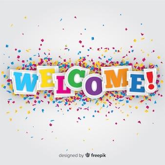 Composição colorida de boas-vindas com estilo origami