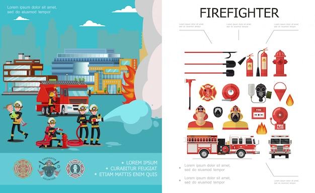 Composição colorida de combate a incêndios plana com brigada de resgate que extingue bombeiros alarme sino balde machado caminhão de bombeiros extintores mangueiras hidrantes pás máscara de gás