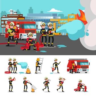 Composição colorida de combate a incêndios